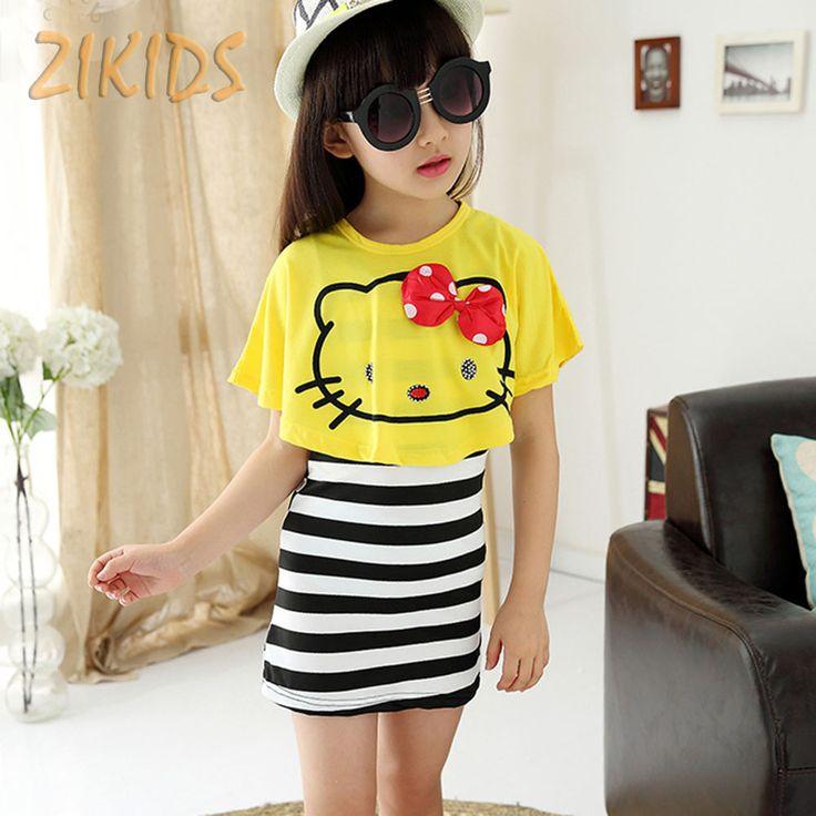 $7.99 (Buy here: https://alitems.com/g/1e8d114494ebda23ff8b16525dc3e8/?i=5&ulp=https%3A%2F%2Fwww.aliexpress.com%2Fitem%2FHello-Kitty-Girl-Dress-Casual-Summer-Style-Striped-Mini-Dresses-Bat-Shirts-Girls-Clothing-Sets-Children%2F32697279535.html ) Lovely Hello Kitty Girl Dresses Casual Summer Striped Mini Dress+Cats Bat Shirts Girls Clothing Sets Children Kids Clothes 2017 for just $7.99
