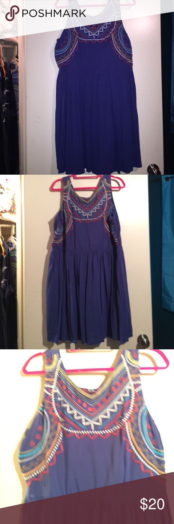Xhilaration Plus Dress Stunning blue dress with colorful Aztec/tribal embroidery on top. Flowy and lightweight. 💃🏻👸🏻👗 Perfect for a night out with the girls, PERFECT for National Margarita day and Cinco de Mayo! Plus size XXL. Worn once. *Excellent* used condition  XXL. 2x. Plus Size. Curvy. Make an offer. Colors on top are red, white, yellow, sky blue and a touch of orange Xhilaration Dresses Mini