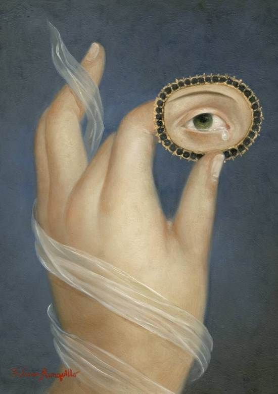 Bound Hand with Weeping Eye. Fatima Ronquillo I was entranced when I first spied this image. I wonder what the artist wanted us to see..other than sorrow?