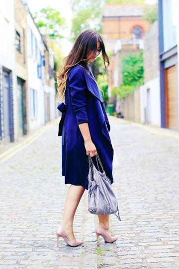 Blue Coat with Metallic Accessories #denim #denimcoat #bluecoat #metallic #silverbag #lilacbag #pastelshoes #pearlshoes #pearlheels #blueovercoat #bluetrench #bluemac #denimovercoat #denimtrench #denimmac