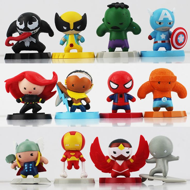 The Avengers Captain America Hulk Spiderman black widow Venom Thor Iron man super heroes 12pcs/lot mini cute pvc figure dolls