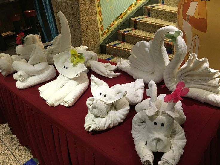 On display - a range of towel folding creations