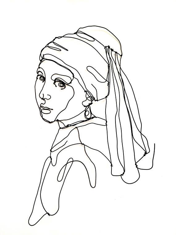 Girl with a pearl earring, Wire wall sculpture, Girl portrait, Art enthusiast, Art lover, Icon, Wall decor