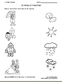 "Weather Match - Under the ""critical thinking skills workshets"" there is another weather worksheet titled ""Winter or Summer"" which is a cut and paste classification, and one called ""Different Weather"" which is a spot which one is different sheet."
