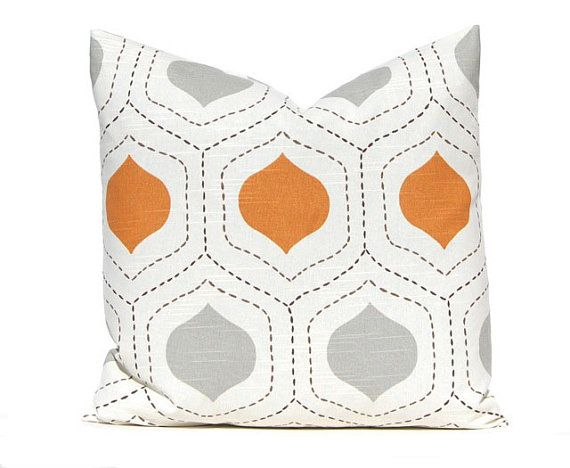 Decorative throw pillow covers in gorgeous shades of burnt orange and gray on IVORY (it photographs more white than it is). The stitched lines