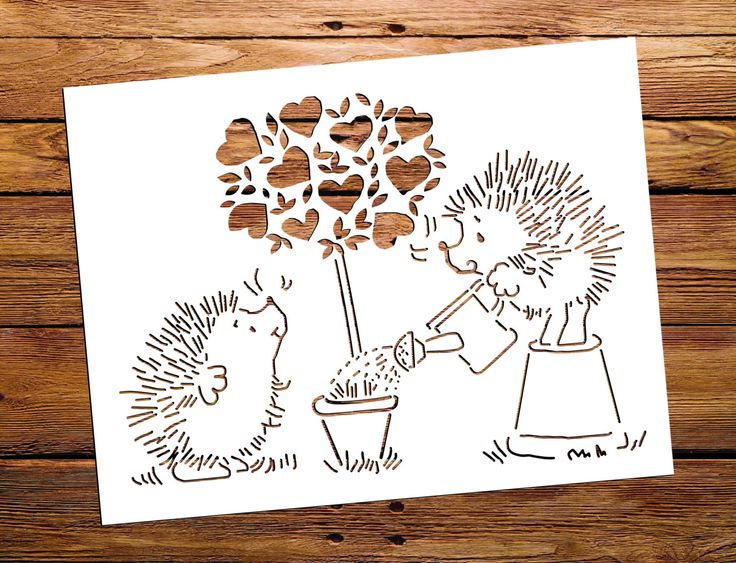 Papercut Template PDF Hedgehog Tree Love by IrinaEmbroidery