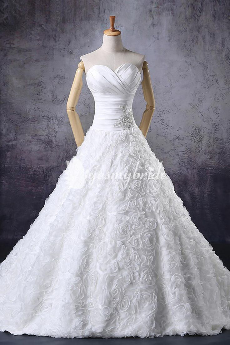 Ruched Strapless Sweetheart Neck Gorgeous Floral Custom-made Wedding Dress. Only For $650.00 #weddingdress #gowns #womenfashions #fashiondress #fashion #dress