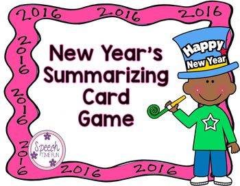 "Have fun working on summarizing with this New Year themed card game!What does this include?-visual for using ""somebody, wanted, but, so then""-card game-review worksheet with graphic organizerGreat for targeting IEP goals:-summarization-sequencing-auditory memory/comprehension and recall-answering questions-expressive vocabulary-academic vocabulary-and more!---------------------------------------------------------------------------Like this product?"