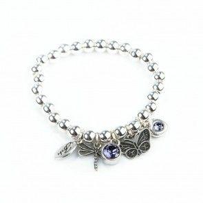 Bibi Bijoux purple crystal Dragonfly charm bracelet