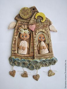 """Панно"""" Домик в облаках"""" - керамика ручной работы,ангелы,облака,домики"""