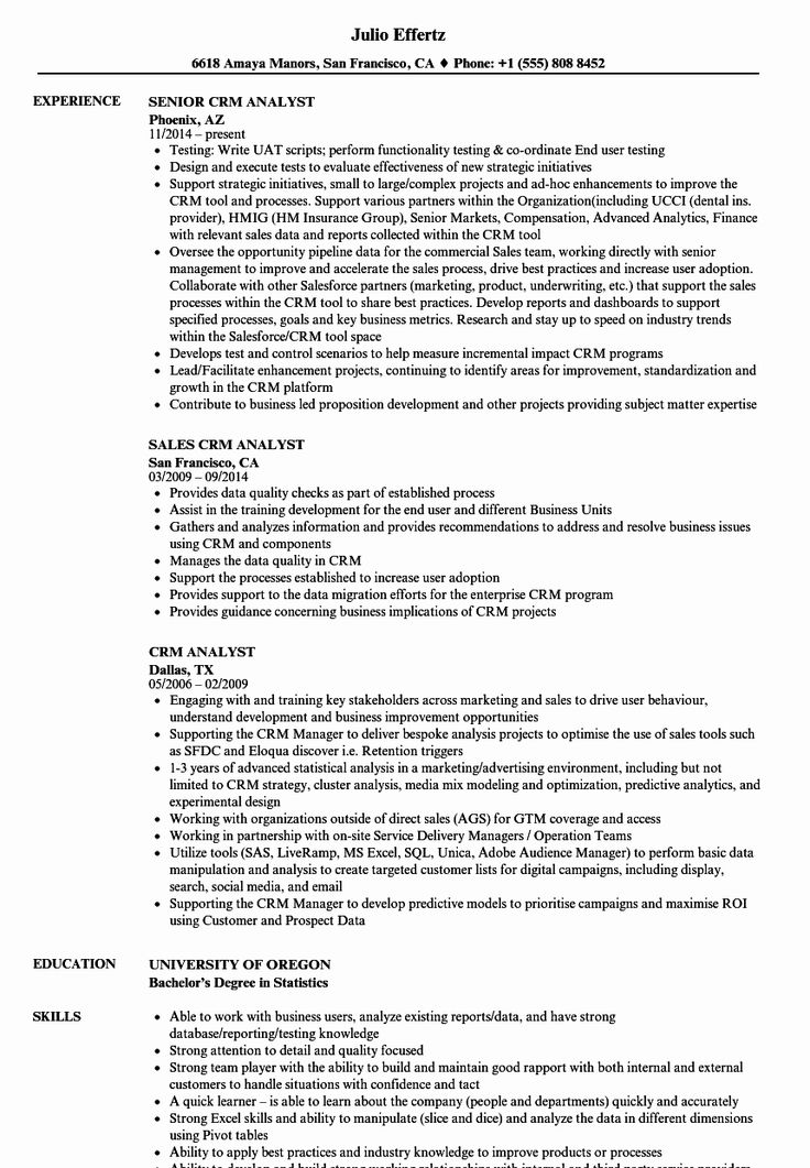 Jira Business Analyst Resume Luxury Crm Analyst Resume Samples