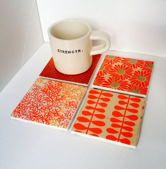 Orange and Gold Ceramic Tile Contemporary Coasters by LittlePerk, $20.00