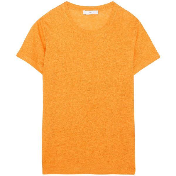 IRO Luciana linen-jersey T-shirt (£90) via Polyvore featuring tops, t-shirts, marigold, linen t shirt, linen tops, jersey tee, slouchy t shirt and slouchy tops