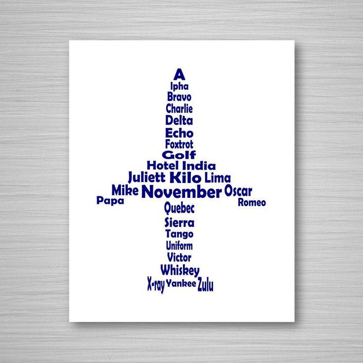 Phonetic Alphabet Airplane Printable Art  Digital Download – Theresa Robinson