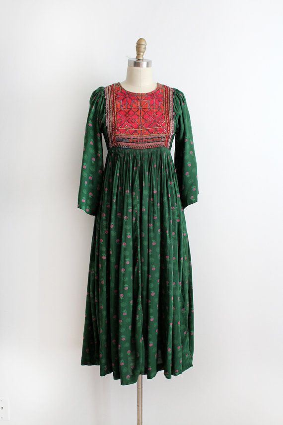 vintage 1970s dress // 70s Afghani cotton dress by TrunkofDresses