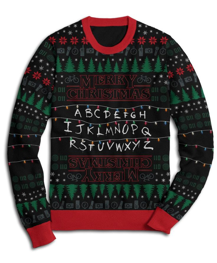 The awesomeness of this strange holiday sweater couldn't be contained by just one side, so we printed it on the back and under the sleeves as well. All-over awesomeness for the biggest fans!