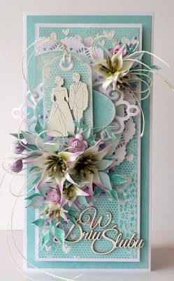 kartkulec, Wedding card with flowers