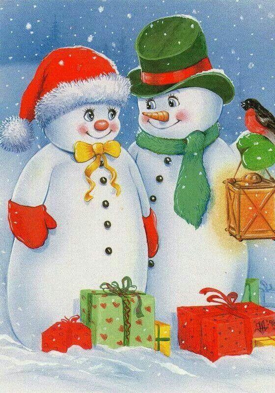 Картинки красивые, рождественские снеговики открытки