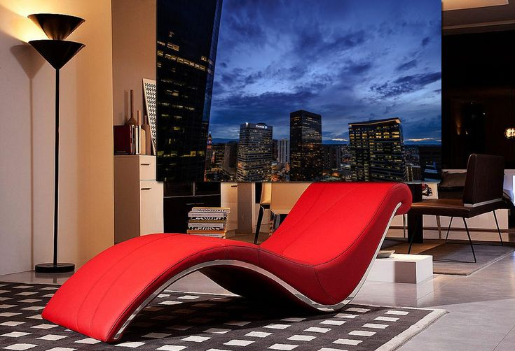 Contemporary lounging red for Alessia leather chaise