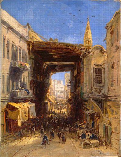 Eugène Isabey : Rue dans la Casbah d'Alger (1830). Peintures des Musées de France: NARBONNE