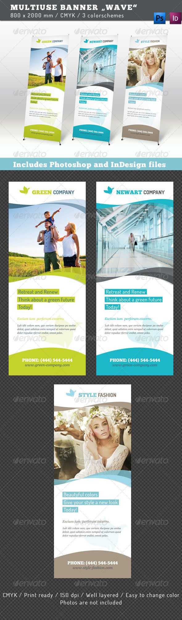"Multiuse Banner ""Wave"" #GraphicRiver Get the bundle! Multiuse Banner ""Wave"" This templates for a stand display, available in 3 different colorschemes. The format is 800×2000 mm. The files are fully editable and print ready. Features: 3 Photoshop files with the different colorschemes 3 files InDesign CS5 .indd, 3 files CS4 version .idml and 3 files CS3 .inx All templates are layered for an easier modification Graphical elements as vector shapes included Fonts: Chunk five Dosis Georgia (System…"