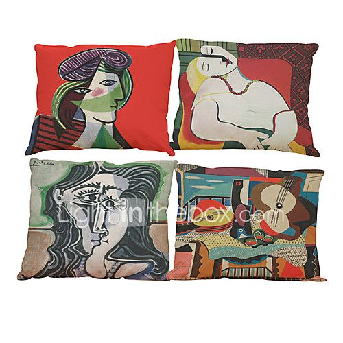 "Set of 4The World Famous Painting Color Picasso Nordic Minimalist Cushion Cover (18""*18"") - USD $14.69 ! HOT Product! A hot product at an incredible low price is now on sale! Come check it out along with other items like this. Get great discounts, earn Rewards and much more each time you shop with us!"