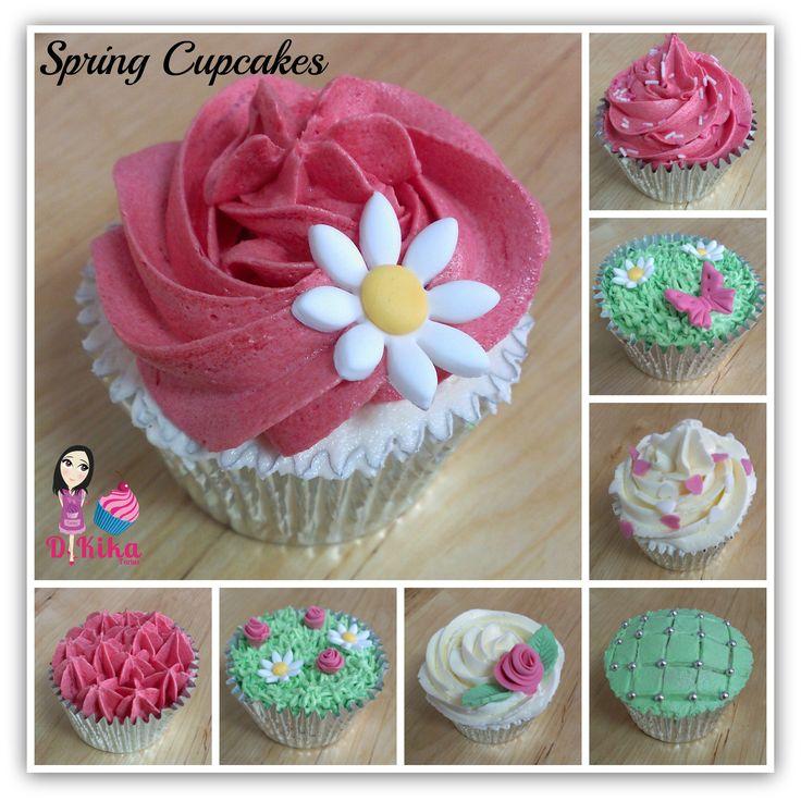 Cupcakes primaverales de buttercream