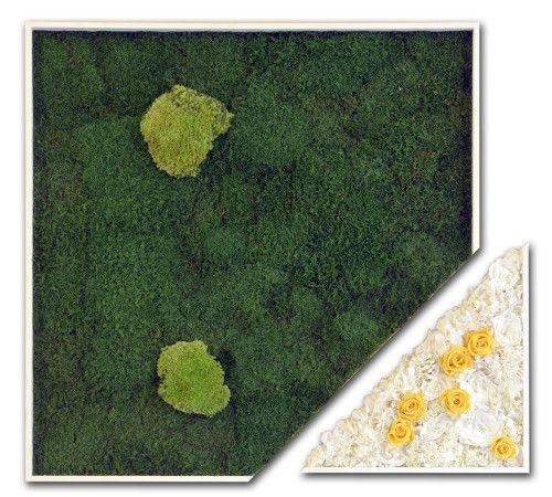 Melody - Stabilized #Plants: Moss, ball moss, yellow rosebuds, white gardenias, white hydrangeas - cm 83 x 83 - by #LinfaDecor