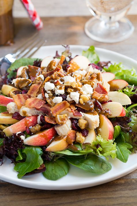 Apple-Feta Salad with Chicken, Bacon and Walnuts and Balsamic Vinaigrette - Cooking Classy