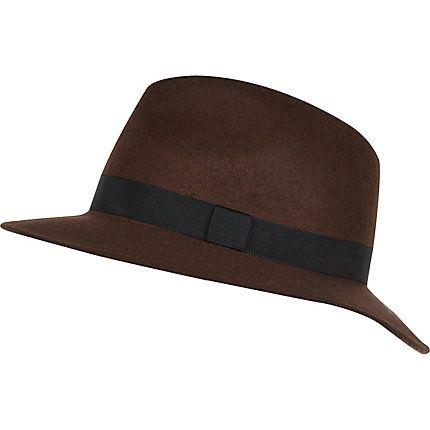 Brown grosgrain trim fedora hat £22.00