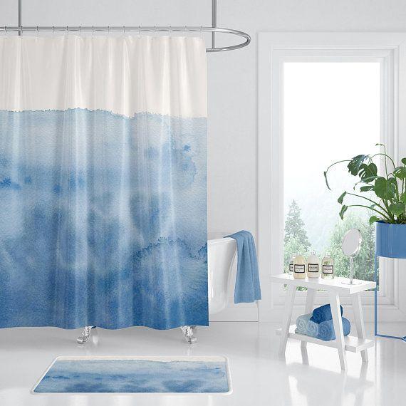 Blue Watercolor Shower Curtain Waves Of Love Unique Blue
