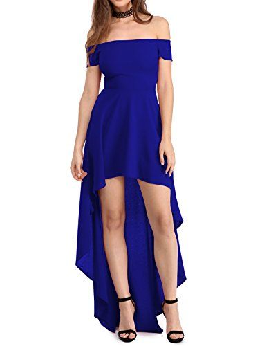 Special Offer: $19.99 amazon.com This beautiful dress features an alastic off the shoulder neckline, short sleeves and a slim fit bodice. It has a hidden zipper and a floor length Hi-low skirt that adds a captivating elegance to every turn.Elastic Off Shoulder NecklineShort sleeves and Floor...