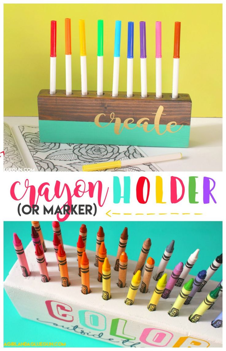 DIY crayon and marker holder from A Girl and a Glue Gun