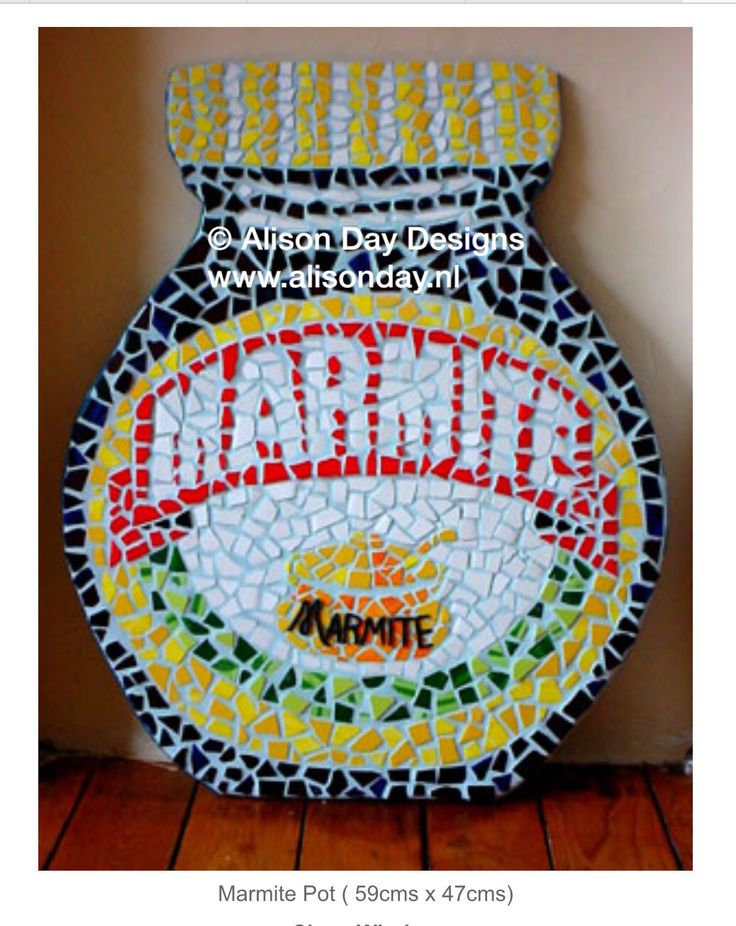 Marmite mosaic by Alison Day  Newsletter - for more info and creativity: http://alisonday.us8.list-manage.com/subscribe?u=f0ee923eb109c974f6e7d72c2&id=d783011ad5