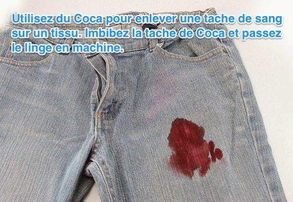Le Coca Cola est un détachant efficace pour enlever les taches de sang sur du tissu ou un vetement