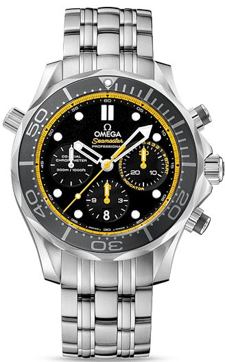 212.30.44.50.01.002  NEW OMEGA SEAMASTER DIVER 300M CO-AXIAL CHRONOGRAPH MENS LUXURY WATCH IN STOCK   - FREE Overnight Shipping | Lowest Price Guaranteed    - NO SALES TAX (Outside California)- WITH MANUFACTURER SERIAL NUMBERS- Black Dial with Yellow Accents - Black Ceramic Bezel- Chronograph Feature - Self Winding Automatic Chronometer Movement - Column-Wheel Mechanism