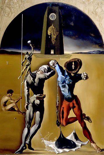Dalí i Domènech, Salvador Poesía de América Fecha1943 Dimensiones 116 x 79 cm Técnica Óleo sobre tela Ubicación Teatro-Museo Dalí Dalí pinta este óleo en Estados Unidos, en Monterrey, California, en 1943. El paisaje es una mezcla del llano del Ampurdán y del cabo de Creus y de los grandes desiertos americanos. Aparece la piel de África al fondo, sobre la torre del tiempo, con el reloj que marca la hora y los atletas —jugadores de rugby americano— con el simbolismo vertical de la botella de…