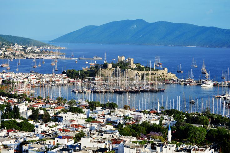 Bodrum is full of beautiful spots to take photos such as this one of the harbour and castle. #Turkey