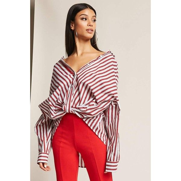 Forever21 Twist-Front Stripe Shirt ($38) via Polyvore featuring tops, red, long sleeve tops, long-sleeve shirt, striped long sleeve shirt, long sleeve shirts and red collar shirt