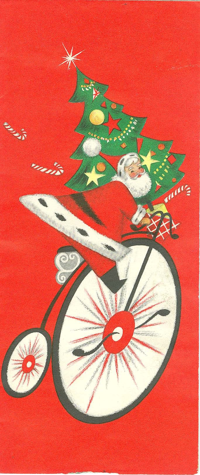 Luv! Vintage Christmas Card ~ Santa on 1 of his Velocipedes!
