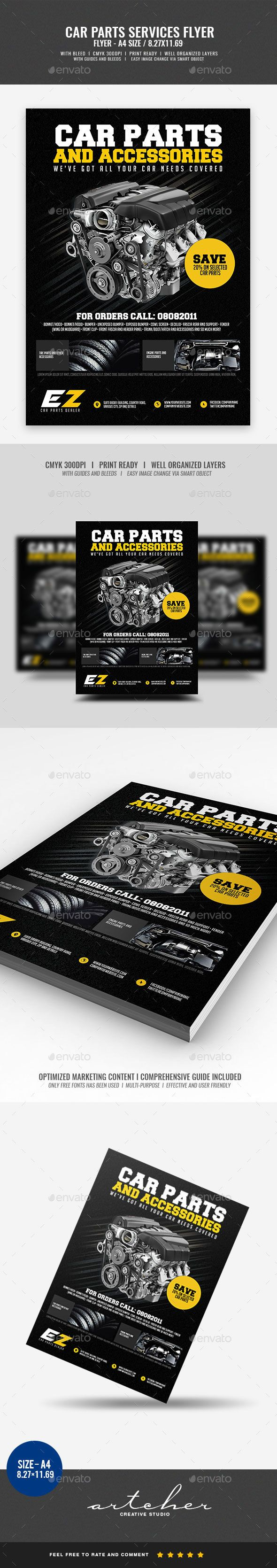 Car Parts and Accessories Flyer v2 Boost your company¡¯s sales and attract new customers! This Template has been developed to help Large and Small businesses improve their Marketing Opportunity and product/brand awareness, with well-studied content for effectiv