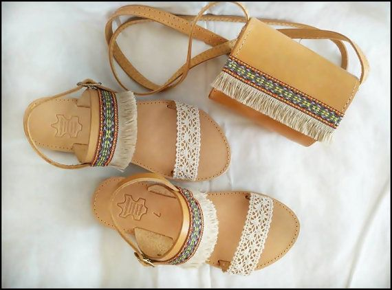 stylish sandals, genuine leather, decorations in the style of boho, genuine leather,  small bag