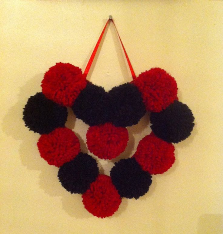black and red pompom heart