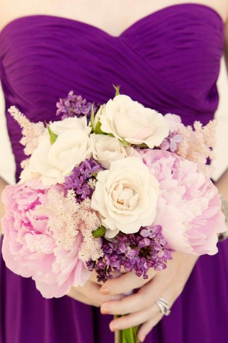Bridesmaid bouquet inspiration: Pink peonies and hot pink spray roses