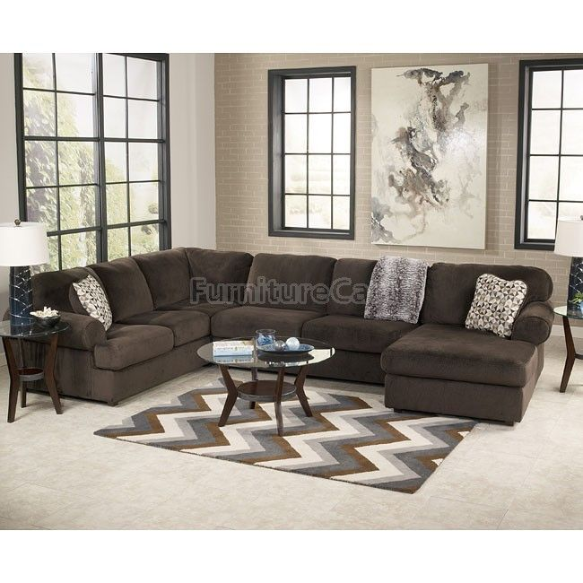 Jessa Place Chocolate Sectional Living Room Set