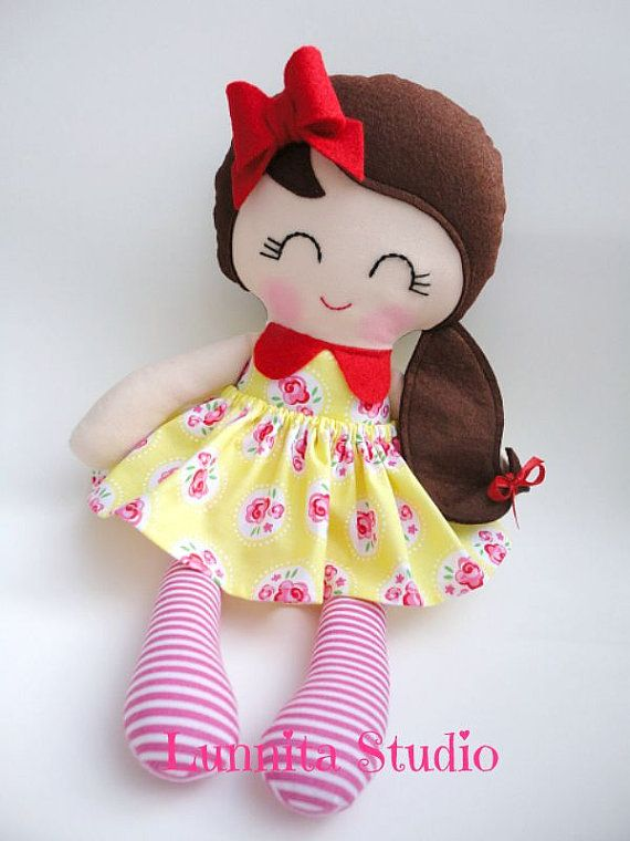 Handmade cloth doll,birthday gift,Ragdoll,Cloth doll,Fabric doll...Sunday picnic..Eco-Friendly Doll... READY TO SHIP