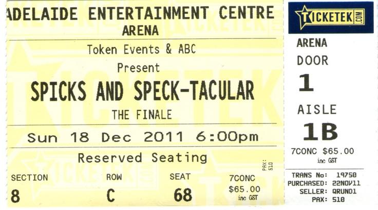 Spicks and Speck-Tacular - Entertainment Centre - Dec 2011