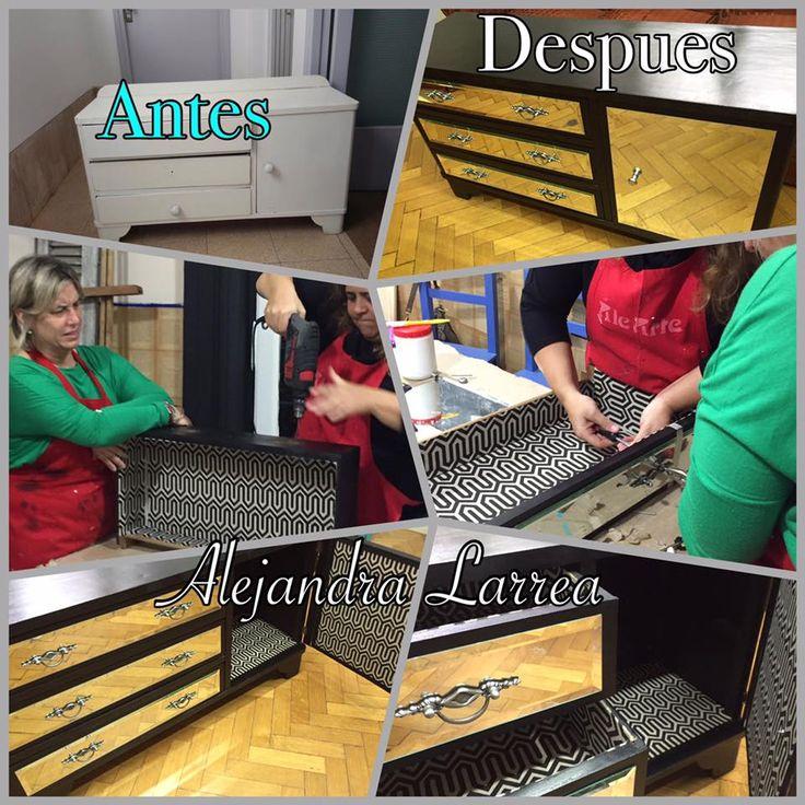 reciclado de muebles , cómoda  interior entelado , laqueado de negro exterior  y aplicación de espejos biselados con  tiradores metálicos