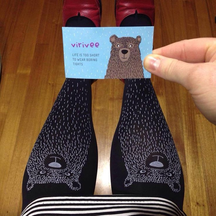 """deafstef: To quote @virivee """"life is too short to wear boring tights"""" I agree! Love my bear tights 🐻"""