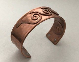 Ocean Waves Copper pipe cuff - Size 7 (#CF18)